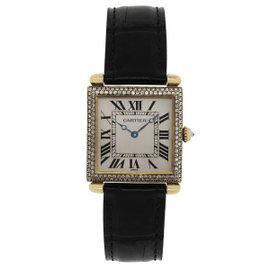 Cartier Tank Obus 1630 18K Yellow Gold Leather Diamond 24mm Womens Watch