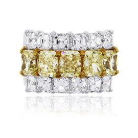 18K White Gold 7.27ct. of Yellow and White Diamond Band Ring Size 6