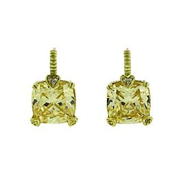 Judith Ripka 18K Yellow Gold 0.06 Ctw Diamond & Canary Crystal Earrings