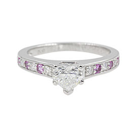 Platinum with 0.12ct Pink Sapphire & Diamond Heart Petite Wedding Ring Size 6