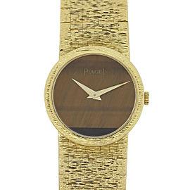 Piaget 18k Yellow Gold Tigers Eye Dial Womens 25mm Watch