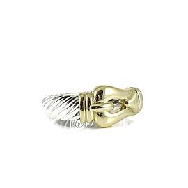 David Yurman Sterling Silver 18K Yellow Gold Wide Waverly Buckle Bracelet