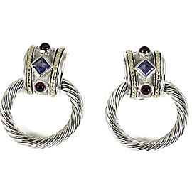 David Yurman Sterling Silver 14K Yellow Gold Large Convertible Iolite Rhodolite Garnet Doorknocker Earrings