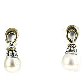 Lagos Sterling Silver 18K Yellow Gold Oval Hanging Pearl Drop Earrings