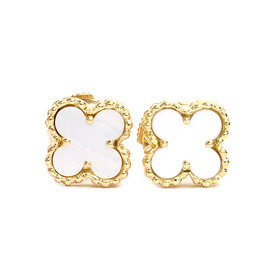 Van Cleef & Arpels 18K Yellow Gold & White Shell Earrings