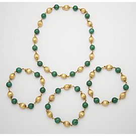 18K Yellow Gold with Jade Convertible Long Chain Necklace and Bracelet Set