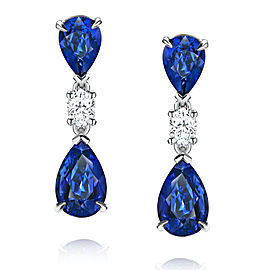 Platinum Blue Sapphire Diamond Earrings