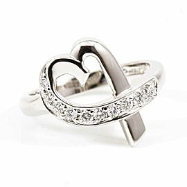 Tiffany & Co. 18K White Gold, Diamond Loving Heart Ring CHAT-219