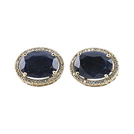 14K Yellow Gold with 26.90ct Sapphire & 0.80ct Diamond Earrings