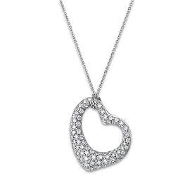 Tiffany & Co. Platinum Diamond Elsa Perretti Open Heart Necklace