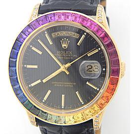Mens Rolex 18K Gold Day-Date President Full Diamond Rainbow Sapphire 18238