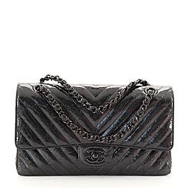 Chanel So Black Classic Double Flap Bag Chevron Crumpled Metallic Patent Medium