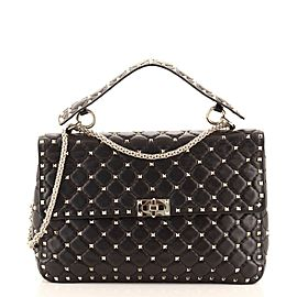 Valentino Rockstud Spike Flap Bag Quilted Leather Large