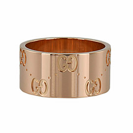 GUCCI 18k Pink gold Icon print ring