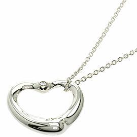 "TIFFANY & Co. 0.9"" Diamond Silver Open Heart Necklace"