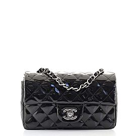 Chanel Classic Single Flap Bag Quilted Striated Metallic Patent Mini