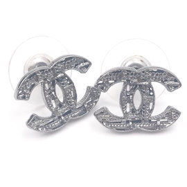 Chanel Gunmetal CC Plaid Cutout Piercing Earrings