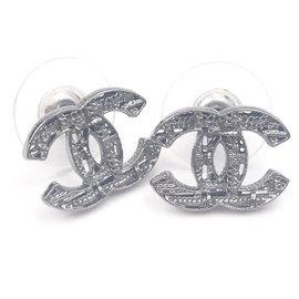 Chanel Gunmetal CC Plaid Cutout Piercing Earrings