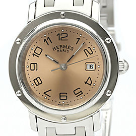 Polished HERMES Clipper Stainless Steel Quartz Unisex Watch CL6.410