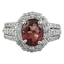 4.33 Carat Tourmaline 14K White Gold Diamond Ring