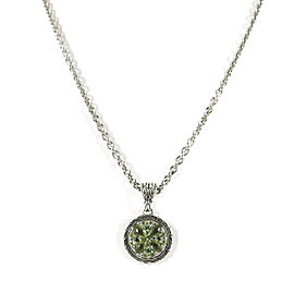 John Hardy 925 Sterling Silver with Green Quartz Kawung Circle Pendant Necklace