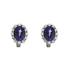 Oval Shape Sapphire Diamond Earrings in White Gold