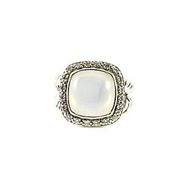 David Yurman Sterling Silver .26tcw 11mm Moon Quartz Diamond Moonlight Albion Ring