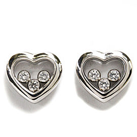 CHOPARD 18K White Gold Happy Diamond Heart Earrings