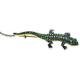 Victorian Demantoid Garnet and Diamond Lizard Gold Brooch