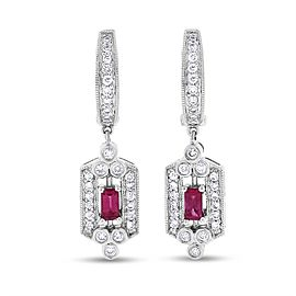 14k White Gold Natural Diamond & Ruby Drop Dangle Earrings