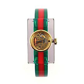 Gucci Vintage Web Rectangular Frame Quartz Watch Plexiglass with Stainless Steel 24