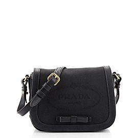 Prada Logo Flap Shoulder Bag Jacquard Nylon