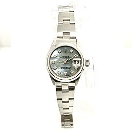 ROLEX DATEJUST 26mm Steel Watch MOP Blue Diamond Dial