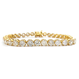 18K Yellow Gold 10.77ct Diamond Tennis Bracelet