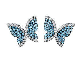 Swarovski 18K White Gold wTopaz & Diamond Butterfly Earrings & Pendant Set