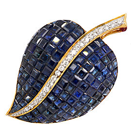18K Yellow Gold Sapphire Diamond Brooch
