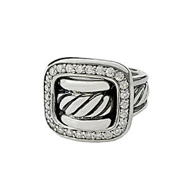 DAVID YURMAN Sterling Silver Diamond Buckle Ring