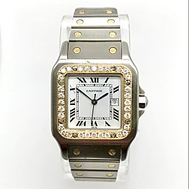 CARTIER SANTOS GALBEE 29mm Automatic 18K Yellow Gold & Steel 0.32TCW DIAMONDS Watch