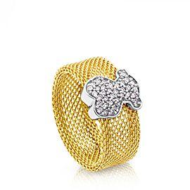 Tous 18K Yellow & White Gold 0.20ct Diamond Mesh Ring Size 7
