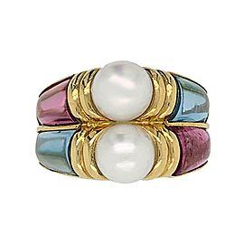 Bvlgari 18 Karat Yellow Gold Touramline and Aquamarine Cultured Pearl Ring