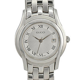 GUCCI 5500L Silver Dial SS Date Quartz Ladies Watch