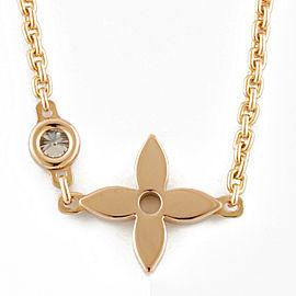 LOUIS VUITTON 18K Pink Gold Diamond flour Pandant Necklace CHAT-728