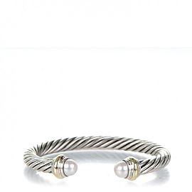 David Yurman Sterling Silver and 14k Yellow Gold Cultured Pearl Cable Classics Bracelet