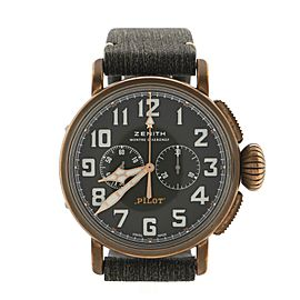 Zenith Pilot Montre d'Aeronef Type 20 Adventure Chronograph Automatic Watch Bronze and Matrix Leather 45