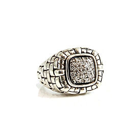 Scott Kay Sterling Silver .25tcw Pave Diamond Basket Weave Ring