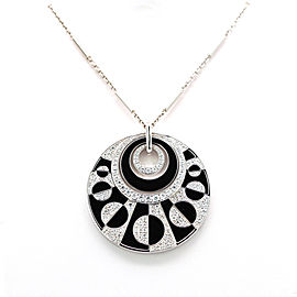 Bulgari Intrasio 18K White Gold with 4.00-5.00ctw Diamond and Onyx Pendant Necklace