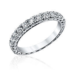 Jack Kelége 18K White Gold .68ct Diamond Eternity Ring Size 6.5