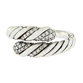 David Yurman Sterling Silver with 0.28ct. Diamond Willow Open Single-Row Ring Size 7
