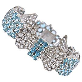 Birks English 9 Karat Gold Diamond Blue Gemstone Bracelet