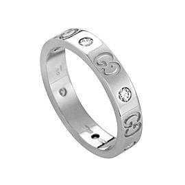 Gucci White 18k Gold Icon Italy Eternity Diamond Band Ring